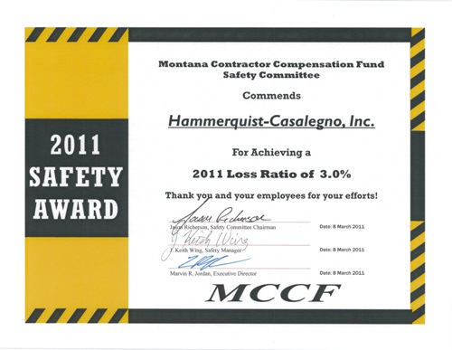 safety effort earns award hammerquist casalegno llc building trust earning confidence. Black Bedroom Furniture Sets. Home Design Ideas